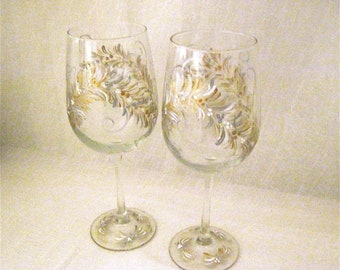 Free shipping Gold and silver hand painted pair of wine glasses