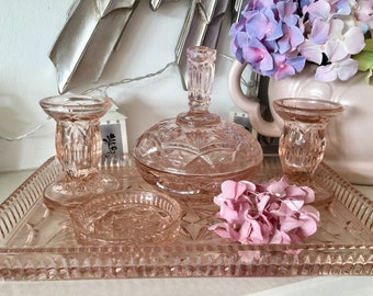 Art Deco 6-piece Pink Glass Dressing Table Set