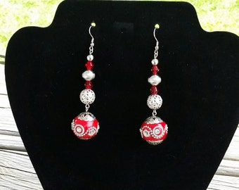 Red and silver boho drop earrings