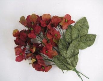 Velvet hydrangea flowers 24 heads Red,  millenery,  scrapbooking, bridal bouquets