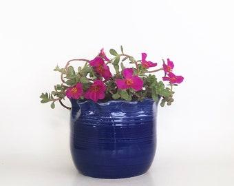 Handmade Wheel Thrown Cobalt Blue Pot with Three Holes