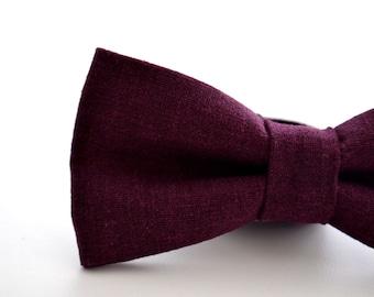 Mens Bowtie Eggplant Linen, Purple Bow Tie, Dark Purple Bow Tie, Mens Bow Tie Wedding Bowties, Groomsmen Bow Tie