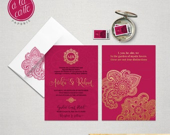 Indian Style Wedding Invitation in orange red Indian Arabic Henna decoration exotic Indian party gold pink fuchsia  DEPOSIT Payment