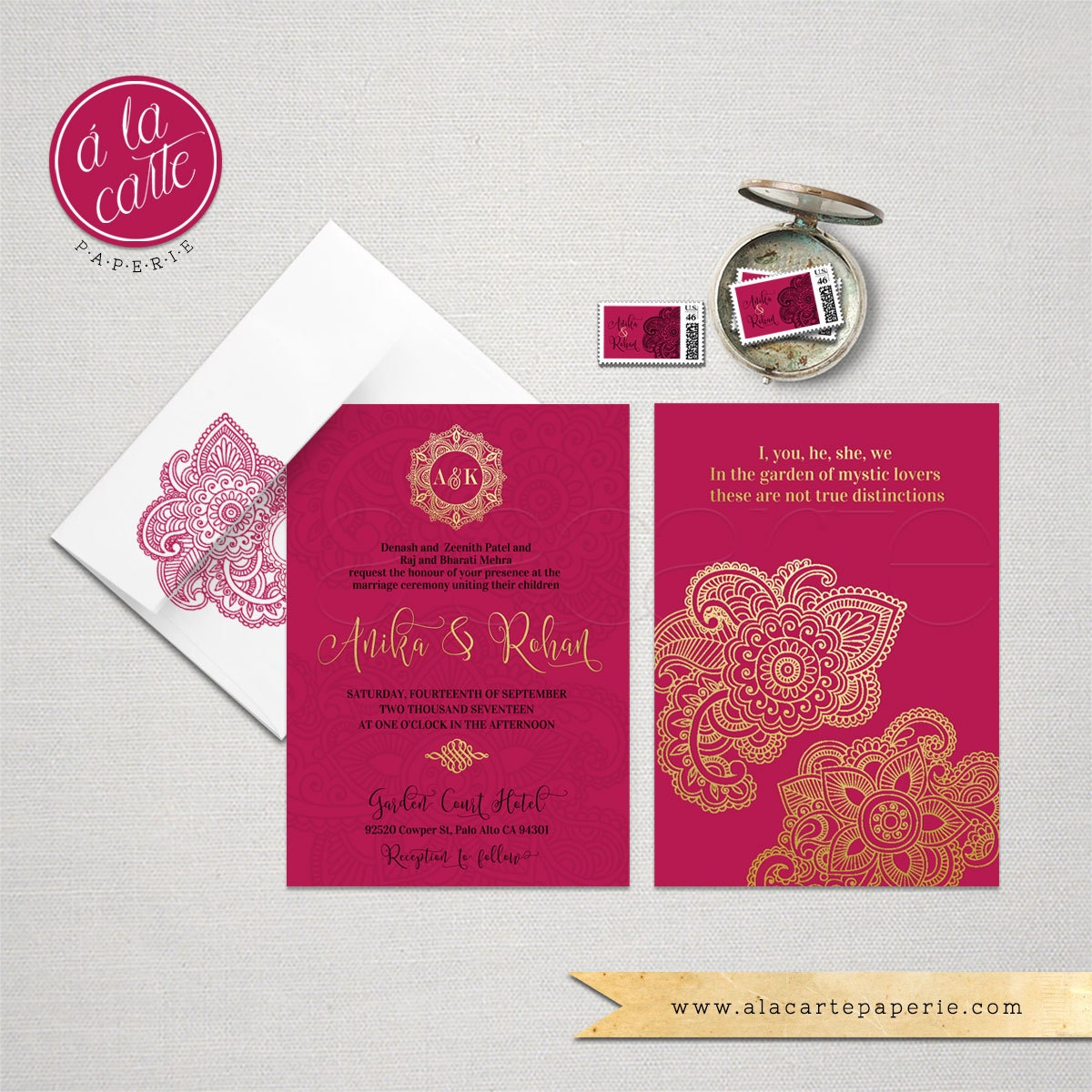 Indian Style Wedding Invitation in orange red Indian Arabic