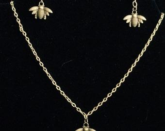 Antique Bronze Bee necklace, Antique Bronze Bee earrings, insect necklace, insect earrings
