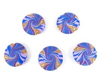 """25% OFF Blue Swirl Focal Beads Polymer Clay Lentil Beads Five Cobalt Blue Merlot Lavender Handmade 7/8"""" 22 mm Jewelry Supplies"""