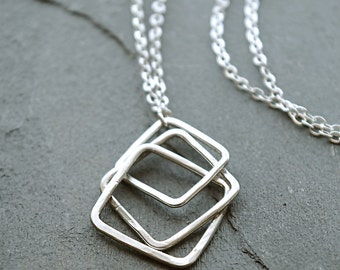Geometric necklace, Modern Necklace, Gift for Her, Silver Minimalist Necklace, Square Necklace,  Chain Necklace, Sterling Pendant