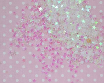 4mm Clear Iridescent Star Glitter Kawaii Resin Supplies Nail Art Decoden Slime - 10 grams