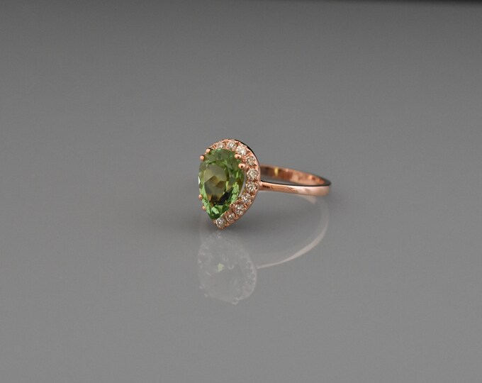 14K Rose Gold Tourmaline Ring | Statement Ring | Engagement Ring | Wedding Ring | Fine Jewelry | Handmade Ring |