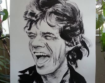 Mick Jagger, rolling stones, famous paintings, art, paint, original portrait, wall art, decor, ink on paper, sketch, ilustration, stones