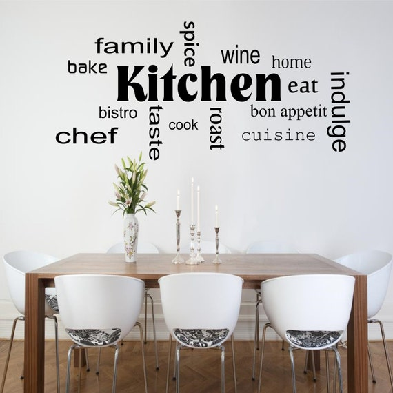 Kitchen Words Phrases Wall Art Sticker Room Lounge Quote Decal