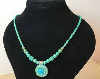 Turquoise Handmade Necklace Pendant BeadS Vintage