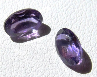 Matched Pair 6x4mm Oval Natural African Amethyst Loose Gemstones 1.01 Ctw