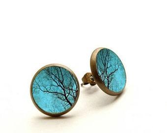 Blue Tree - handmade stud earrings, Tree Jewelry, Hypoallergenic Earrings