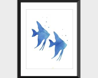 Angelfish Printable Art, Two Blue Fish Bathroom Decor Coastal Decor Instant Download, Watercolor Art Print, Wall Art