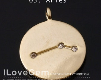 03-ZO-GO Gold Plated, Constellation Necklace, Zodiac Sign Jewelry , Aries, 11mm, Zodiac Pendant, 1pc