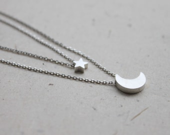 simple crescent with star pendant double layers chain Necklace - S2132-1