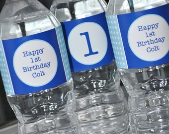 Water Bottle Labels - Boys 1st Birthday Personalized Party Decorations -  Dark Blue and Light Blue Polkadot - Set of 10