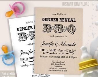 Gender Reveal BaByQ invitation, Printable invitation template, Gender Reveal and BBQ, Instant download self editable PDF B101
