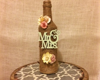 Mr and Mrs twine decorative bottle, twine bottle, wedding decor, floral arrangements, home decor, housewarming gift