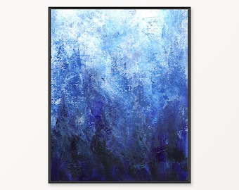 Abstract painting, blue printable abstract painting, abstract print, blue abstract wall art, cobalt blue and white abstract acrylic print