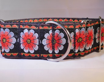 """2"""" Red Daisy Martingale Collar"""
