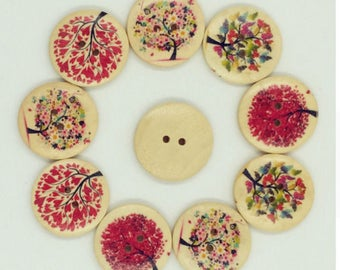 Set of 5 wooden tree buttons