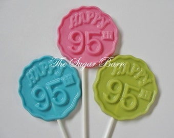 95th BIRTHDAY CHOCOLATE Lollipops*12 Count*Number 95*95 Years*95 Party Favors*Surprise Birthday Party Favor*Gifts for Her*Gifts for Him