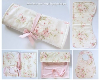 Shabby Chic Floral Roses Travel Set Bib, Burp Cloth & Changing Pad / Girl Floral Bib, Burp Cloth and Changing Pad Travel Set