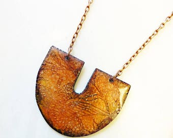 Bird of Paradise Pendant, Basse Taille Enamel on Copper, Glass Enamel, Hand-Etched Metal, Orange Necklace