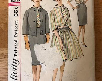 Simplicity 4190 - 1960s Blouse with Bias Tie Collar, Jacket, and Flared or Straight Skirt - Size 14 Bust 34