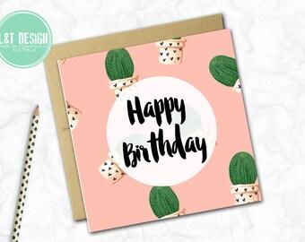 Birthday Card {PINK CACTUS}