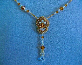 Beadwork drop necklace