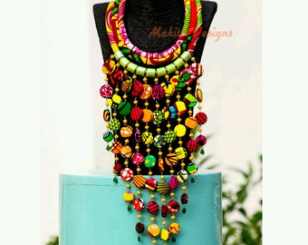 AHOCFE |Statement Necklace | African necklace | Jewelry| Ankara Necklace |Ankara accessories |African accessories |Buttons