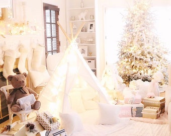 SALE!! Poles Included Teepee Play Tent Solid White- 6 panel