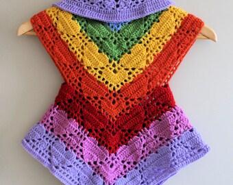 PDF, Rainbow Heart Vest, Crochet Pattern