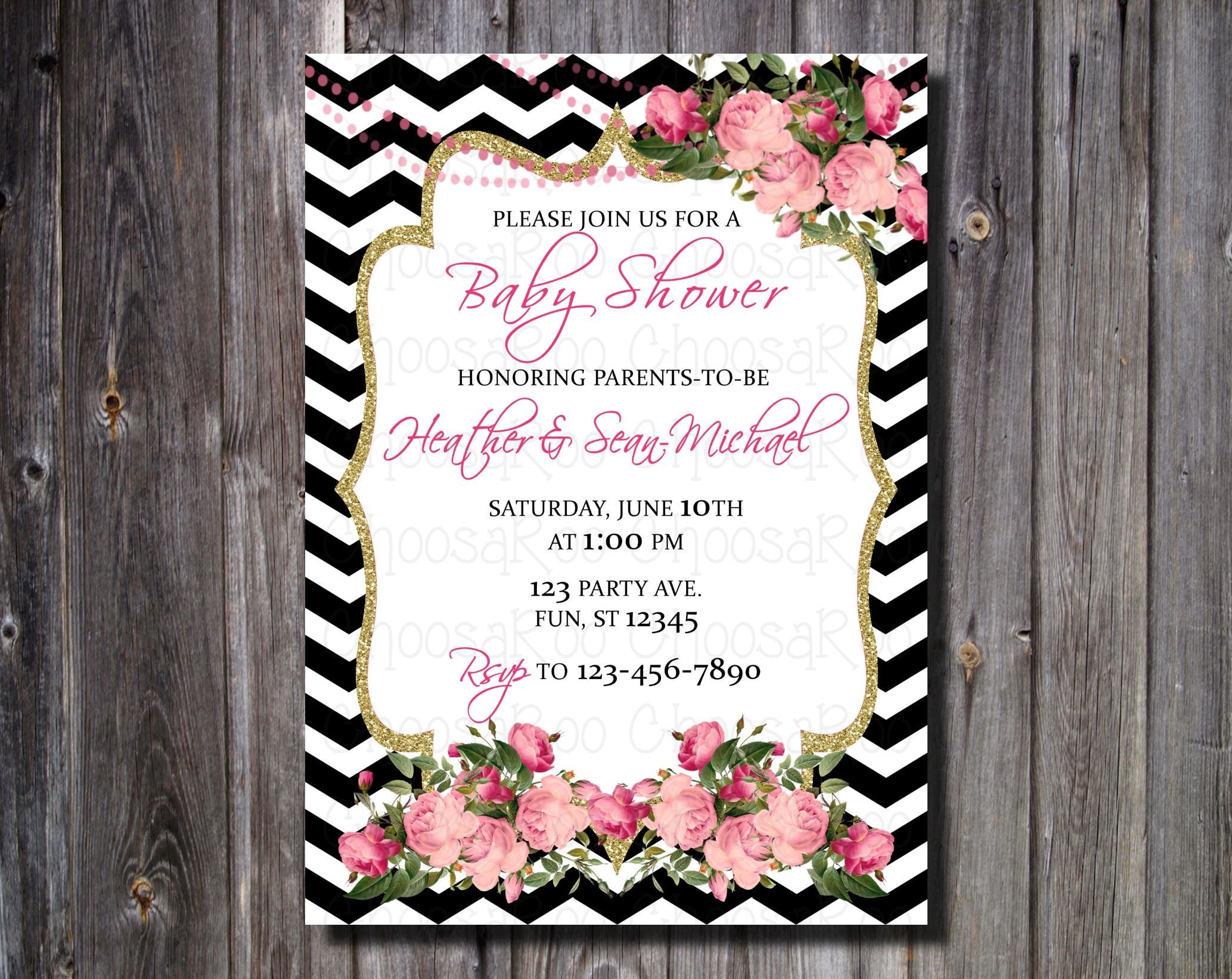 Rose   Black U0026 White Chevron   Baby Girl Baby Shower Invitation   Personalized! Easy To Print!