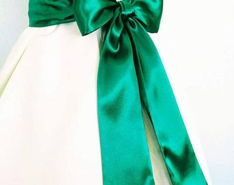 Emerald Kelly Green Bridal Sash Satin Size 110 inch up to 120 inch