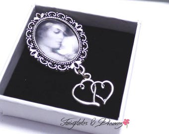 Memorial Photo Brooch with your own personalised photo,Wedding Brooch, Photo Jewellery, Memorial Jewellery, Wedding Keepsake, 18x25mm Photo