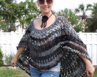 Boho Poncho, Hippie Poncho, Boho Cape, Boho Crocheted Top, Boho Poncho, Womens Poncho, Boho Tunic, Bohemian Poncho