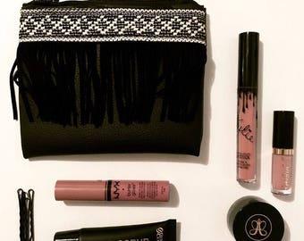 Tribal fringe makeup bag- tribal bag- tribal makeup bag- boho bag - boho makeup bag- fringe bag- black makeup bag- cosmetic bag