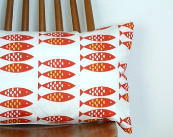 Red Cushion Cover Newlyn Fish print throw pillow sham