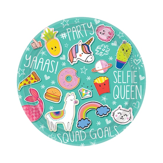 Sale 8 BIRTHDAY PAPER PLATES Unicorn Llama Burger Fries Pizza Donut Pineapple Cactus Rainbow Paper Plate Party Squad Goals Snapchat Selfie from ...  sc 1 st  Etsy Studio & Sale 8 BIRTHDAY PAPER PLATES Unicorn Llama Burger Fries Pizza Donut ...