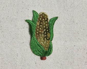 Sequin Corn on the Cob - Corn husk - Vegetable - Food - Iron on Applique - Embroidered Patch - 154125-A