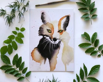 A3 Watercolour Fox Print, Nursery Prints, Watercolour Animals