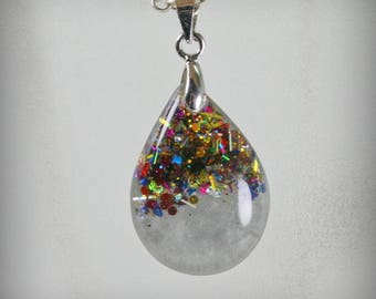 SALE...Teardrop Resin Pendant with glitter  ,  Resin Jewelry , Resin glitter Jewelry , Resin glitter Pendant