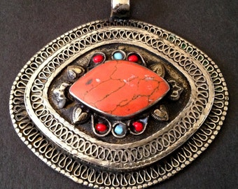 Vintage  Coral Tibetan Embossed Silver Pendant for a Necklace / Unknown Origin / Bold and Chunky Statement Jewelry