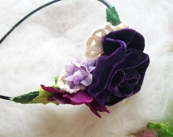 Flower Headband Purple Velvet Rose Headband Victorian Rose Hair Accessory Wedding Shower Ren Fair Flower Fairy Purple Headband