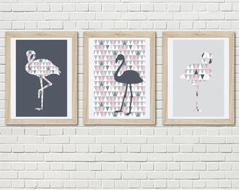 Set of three posters with flamingo and scandinavian trend, design lounge nordic, trend wall art, art print, wall decor