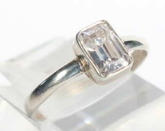 Quartz Ring Sterling Silver Gift for Her Birthday Tiny Small Ring Petite Delicate
